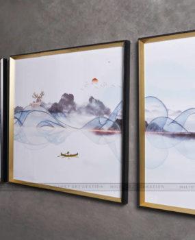 bộ 3 tranh sơn thuỷ gợn sóng ghi(40*80,80*80,40*80)