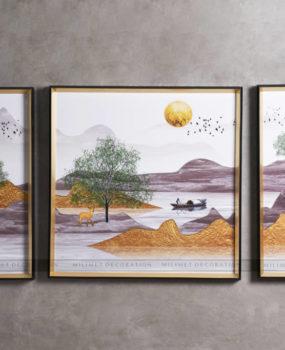 bộ 3 tranh sơn thuỷ cây xanh núi vàng(40*80,80*80,40*80)