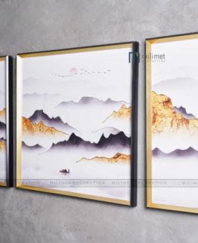 bộ 3 tranh sơn thuỷ hoàng hôn núi vàng khung nhôm mặt kính(40*80,80*80,40*80)