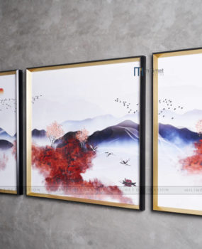 bộ 3 tranh sơn thuỷ cây lá đỏ khung nhôm mặt kính(40*80,80*80,40*80)