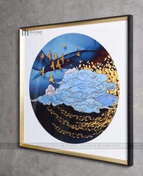 tranh tròn viền vuông mây chim cá vàng(80*80)