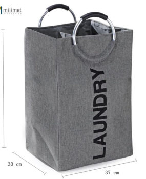 Sọt Laundry qoai tròn màu ghi (55x30cm)