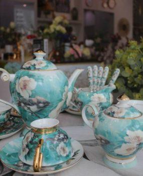 Bộ ấm trà hoa và chim