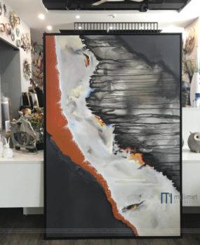 Tranh sơn dầu trừu tượng dòng nước cam(70*100)