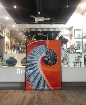 Tranh sơn dầu trừu tượng xoáy cam(70*100)