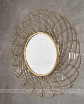 Decor găn tường gương lá to