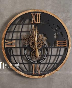 Đồng hồ quả địa cầu viền gỗ D=80