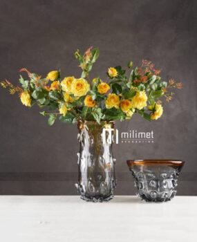 lọ hoa sần búp viền vàng nhạt cao