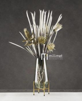 Lọ hoa trắng giá đỡ vàng