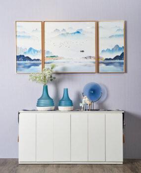 Bộ 3 tranh núi xanh nền trắng