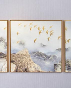 ranh núi đàn cò vàng bay