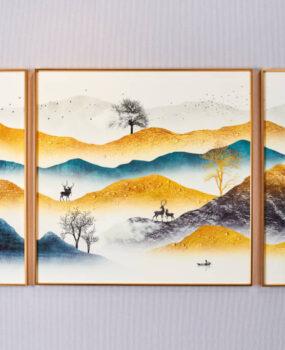 Tranh bộ 3 núi vàng xanh