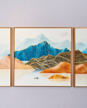 Bộ 3 núi xanh cam vàng