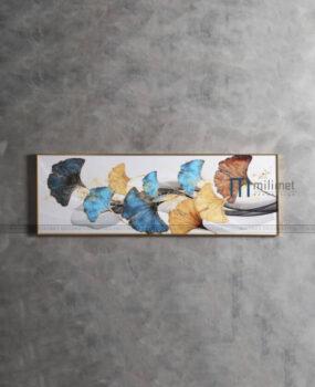 Tranh lá ginkgo xanh vàng 50x150cm