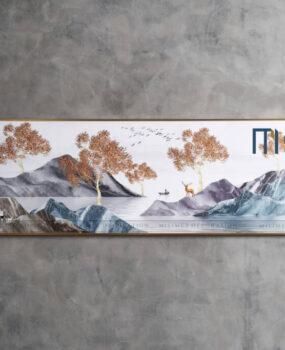 Tranh núi đá và cây cam 50x150cm