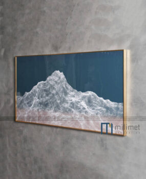 Tranh vân núi trắng nền xanh đậm 70x140cm