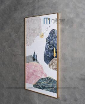 Tranh trừu tượng hồng và xanh 70x140cm
