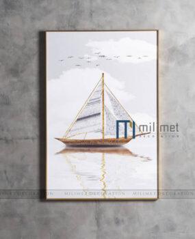 Tranh thuyền trắng 80x120cm