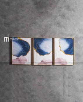Bộ 3 tranh hồng và xanh dương 50x70cm