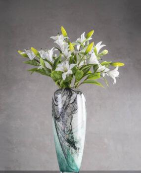 Bình hoa, lọ hoa xanh sóng cao